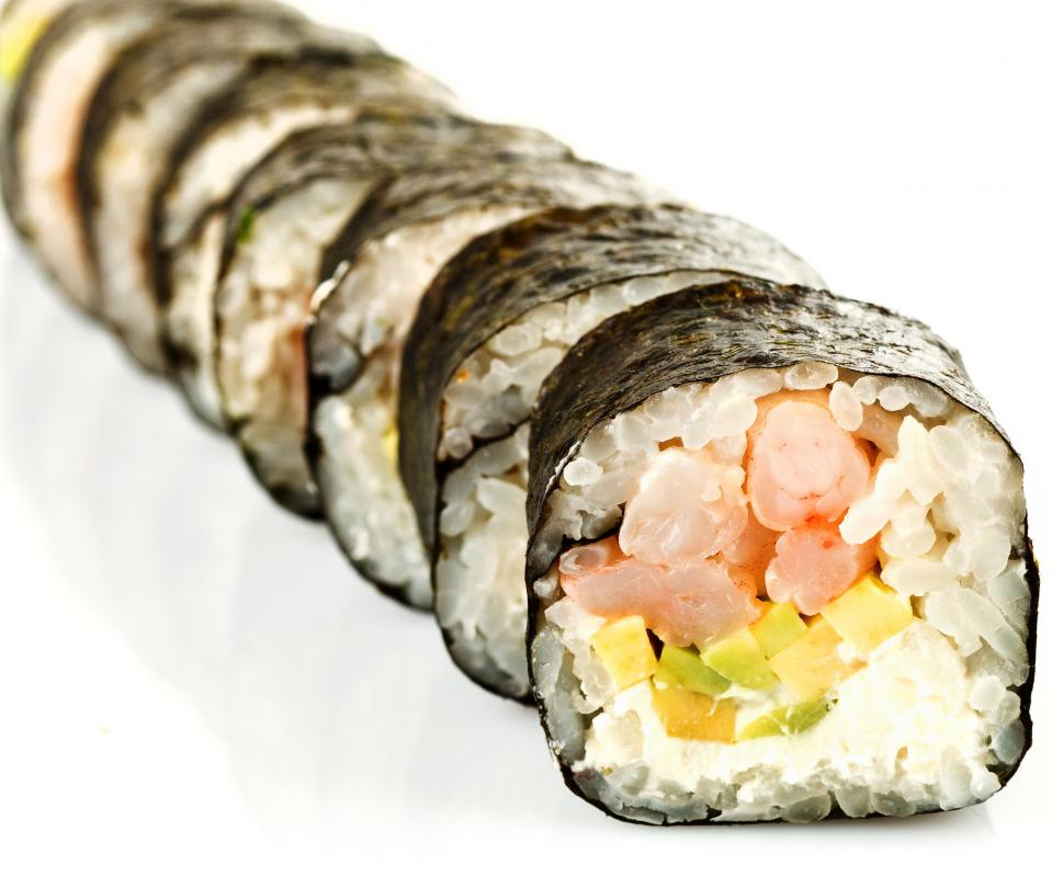 A sushi kit can be used to make popular sushi rolls like the Boston roll.