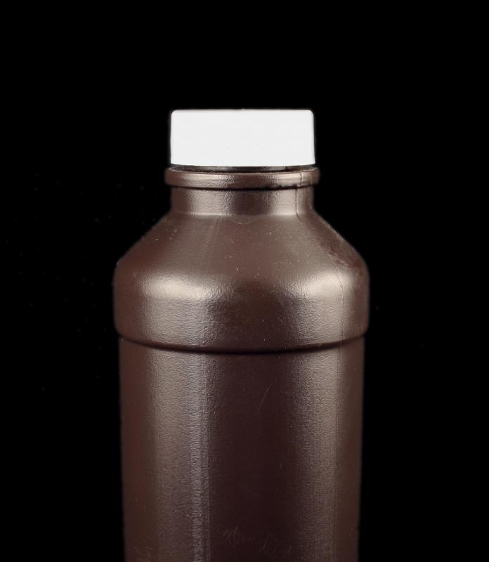 A bottle of hydrogen peroxide.