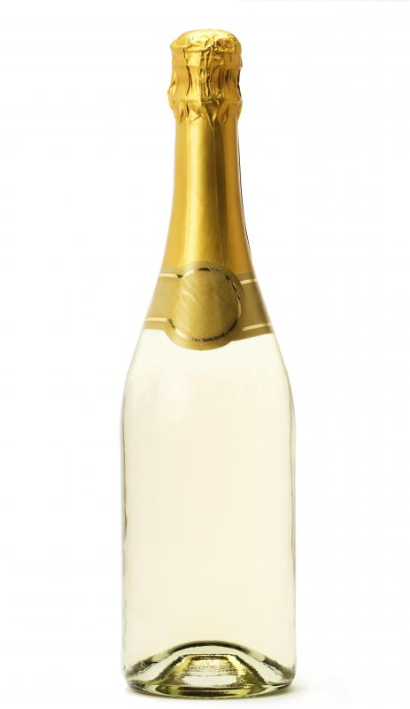 A bottle of champagne, which can be used to make pink champagne cake.
