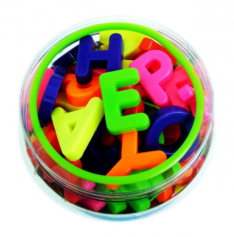 Magnetic letters can be used in games that teach children about the alphabet.