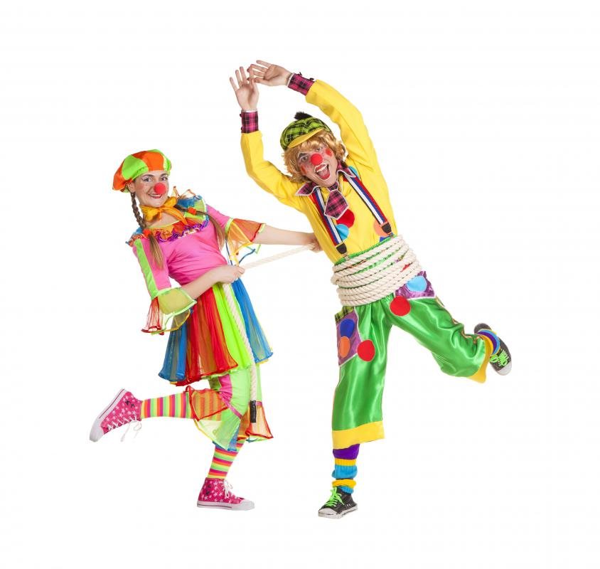Clowns use slapstick comedy in their performances.
