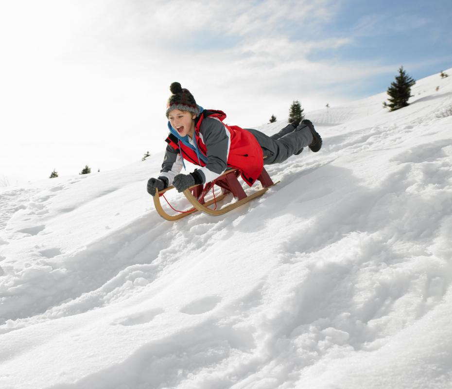 Sledding is a very popular activity in many snowy countries.
