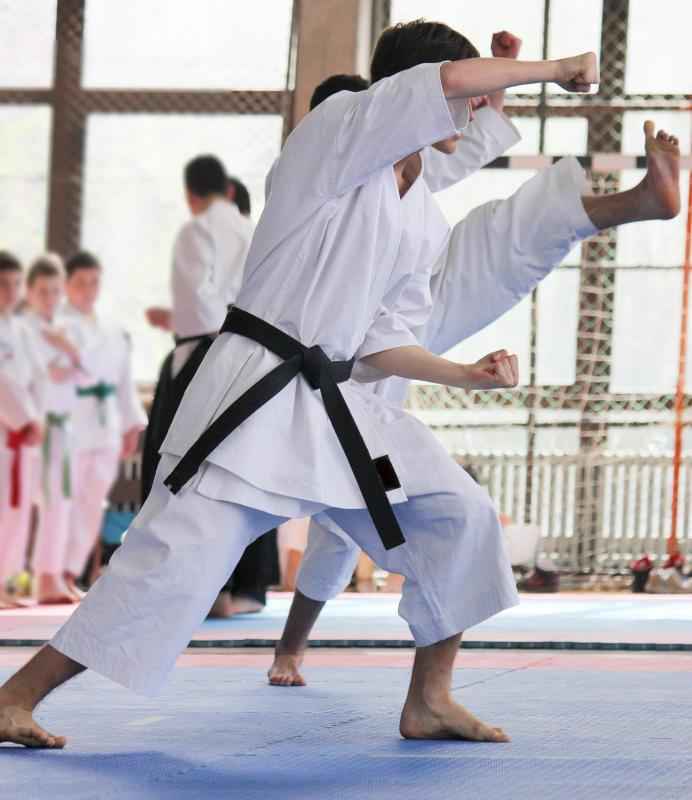 A martial arts instructor teaches students skill in fighting arts.