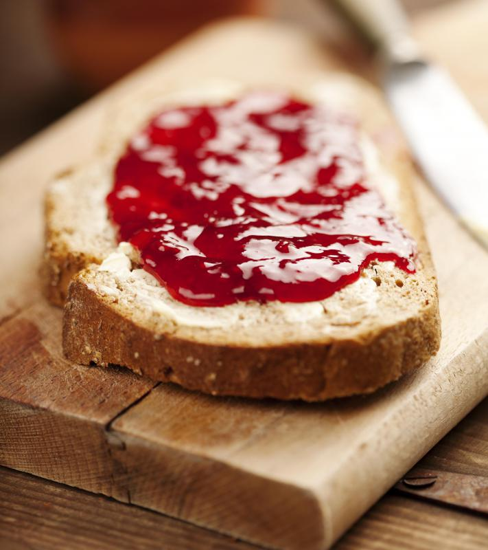 Red gooseberry jam is often used on sweet breads, pancakes and waffles.