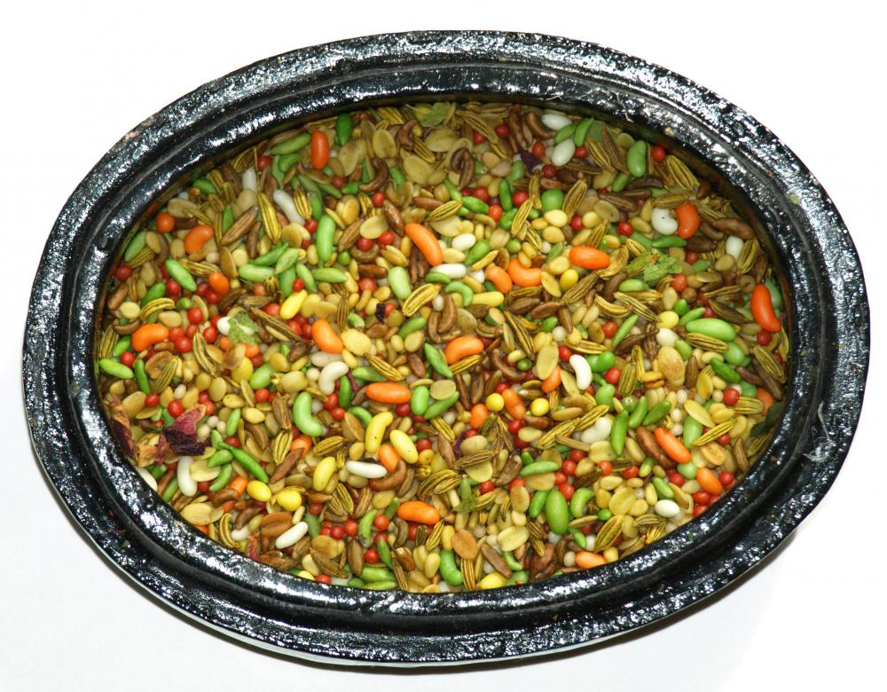 Pan masala is served after a meal to help freshen breath and aid in digestion.