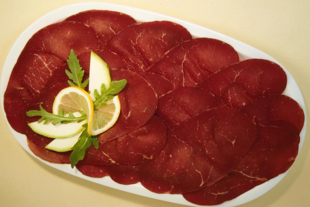 Bresaola is an Italian meat that can be served as cold cuts.