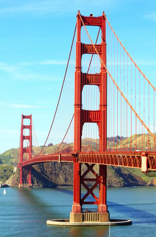 The Golden Gate Bridge is a suspension span in San Francisco.