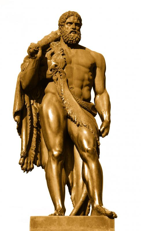 A sculpture of Hercules, who had to retrieve the girdle of Hippolyta.
