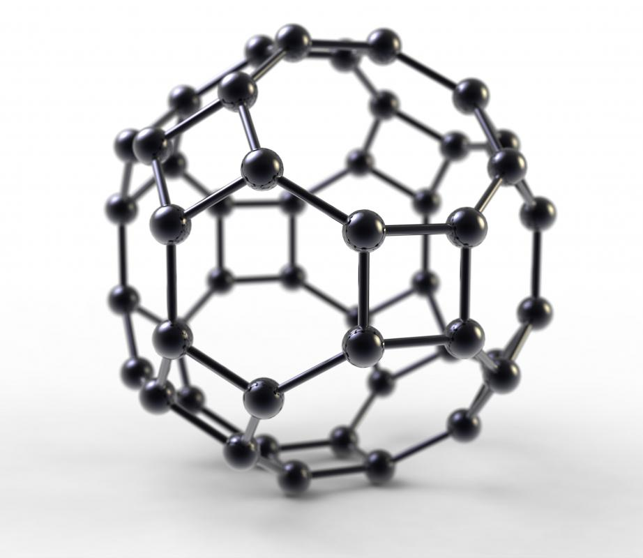 A buckyball is a spherical cage of covalently bonded carbon atoms.