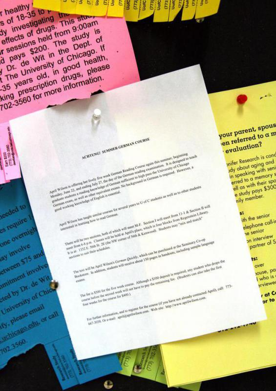 Some kinds of paperwork are hung on bulletin boards.