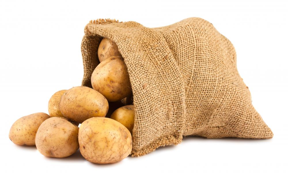A bag of whole potatoes.