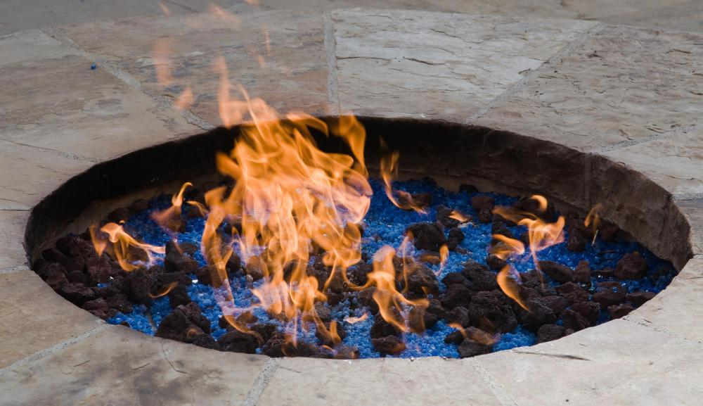 An in-ground fire pit.