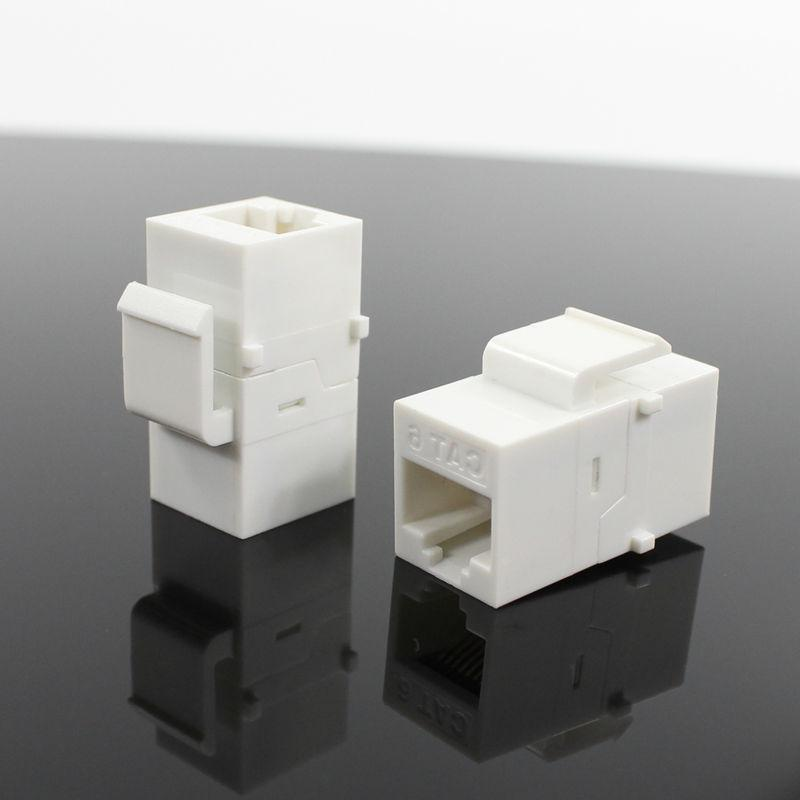 A Cat6 keystone coupler.