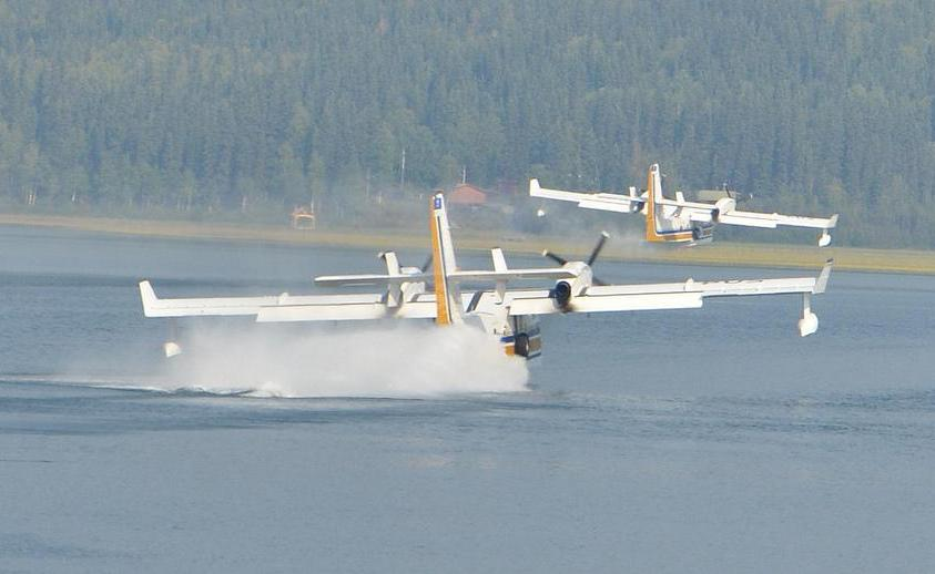 On seaplanes and other amphibious aircraft, including the Canadair CL-215, the horizontal stabilizers are always located high in the empennage so as to avoid contact with water during takeoff and landing.