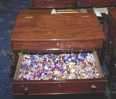 Political traditions like the Senate candy desk, maintained by Republicans.