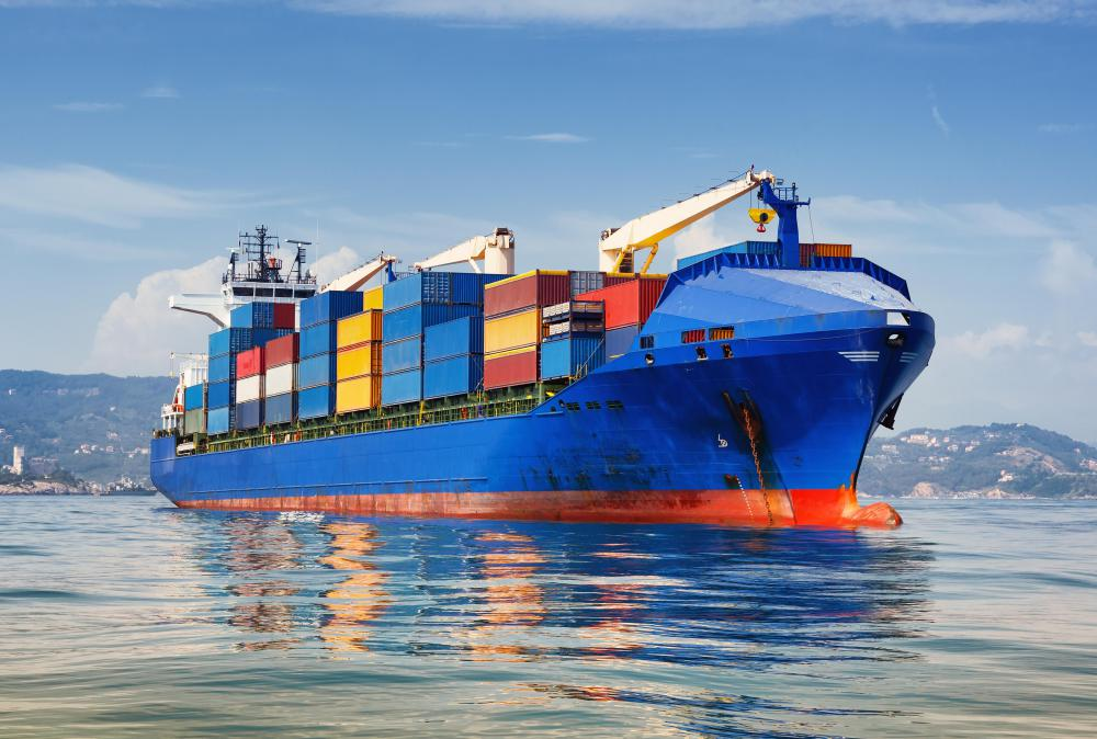 Cars are transported overseas on cargo ships.