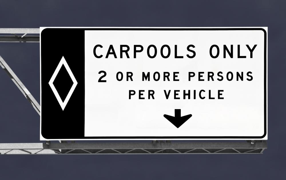 Carpooling helps reduce carbon dioxide emissions.