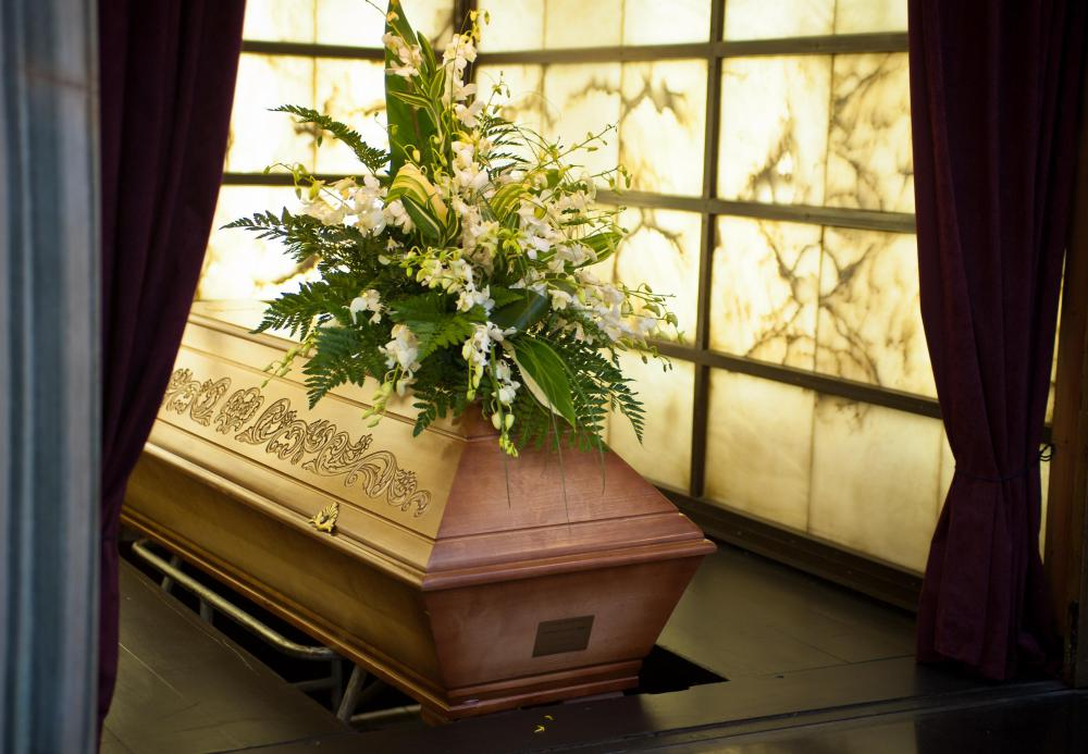 A casket may be part of a person's burial expenses.