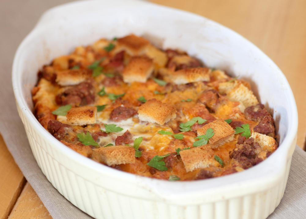 Casseroles are popular dishes people bring to a potluck.