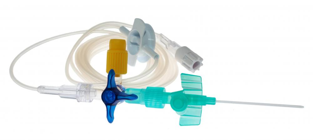 An IV cannula and tubing.