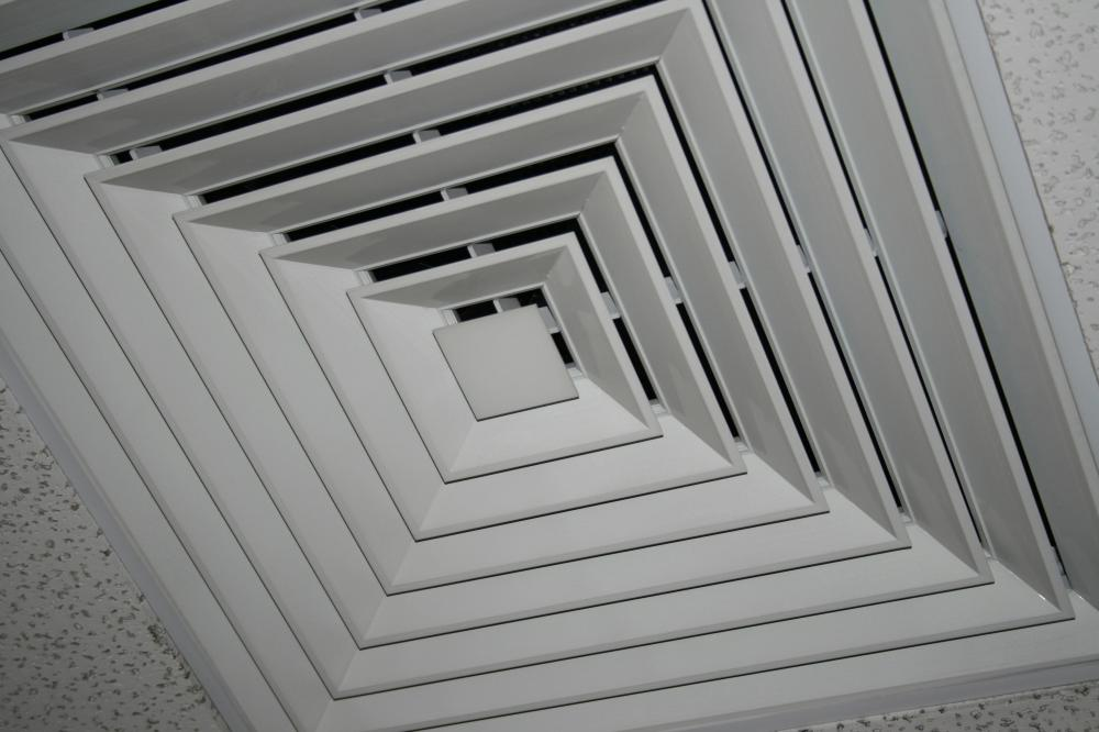 A ceiling vent leading to an air duct.