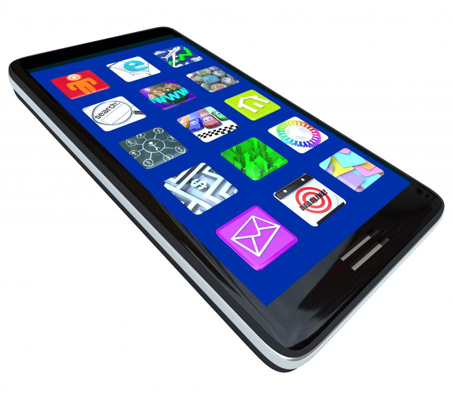 A smartphone's apps appear as small icons on its touchscreen.
