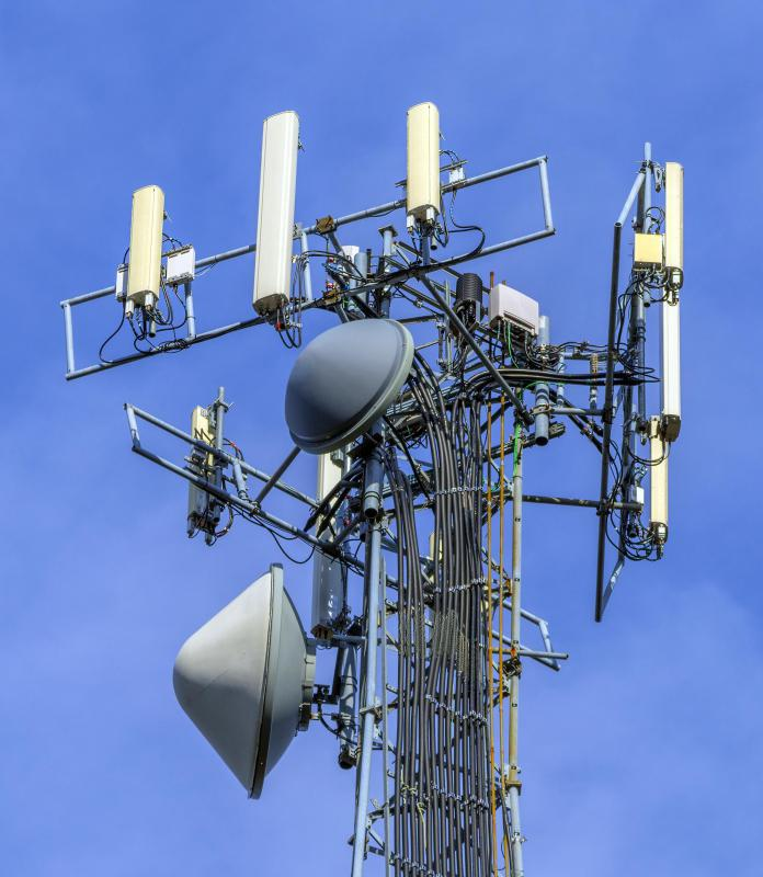 Cell towers transmit calls and SMS messages.