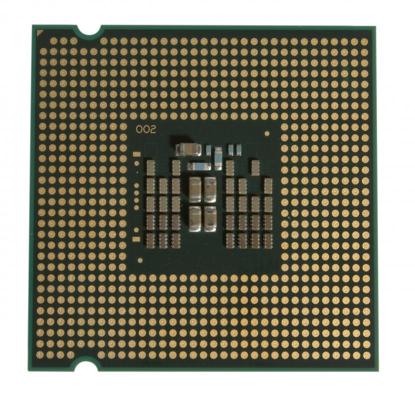 A central processing unit. The CPU connects to the motherboard through the chip socket.