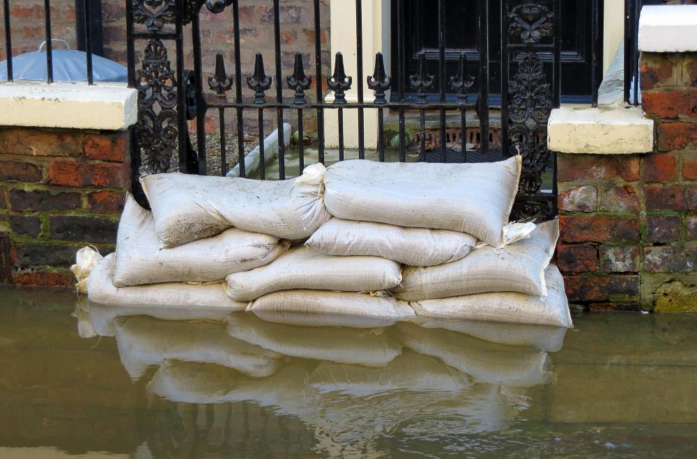 Sandbags can be used to build temporary barriers during flooding.