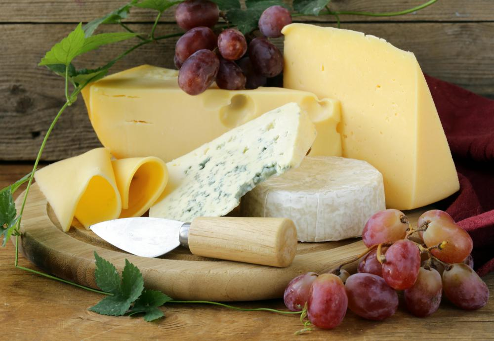 Danish blue cheese has a creamy texture and veins of bluish-green mold.