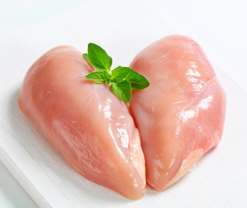 Skinless chicken breasts can be grilled for a low-fat lunchtime sandwich.