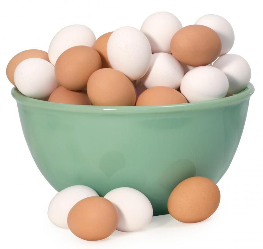 Eggs, which are used to thicken chicken corn soup.