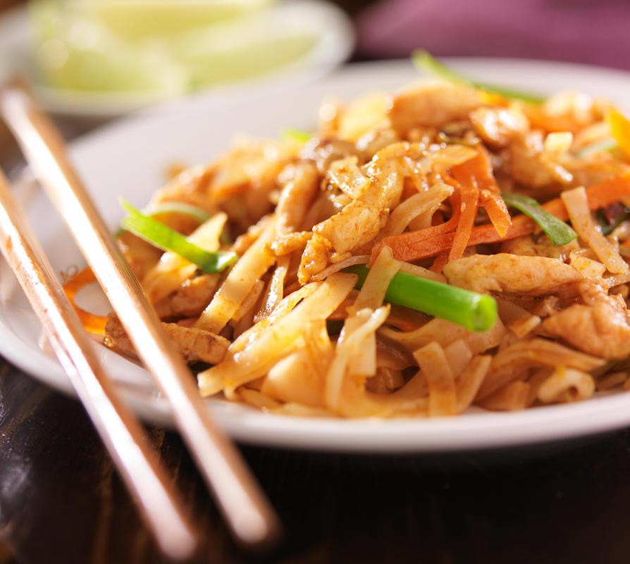 Chicken Pad Thai is one of the most recognizable examples of Thai cuisine.