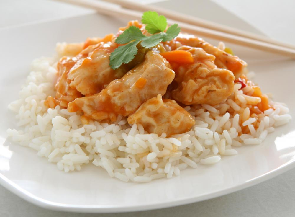 White rice is preferred when making chicken and rice stir-fry.