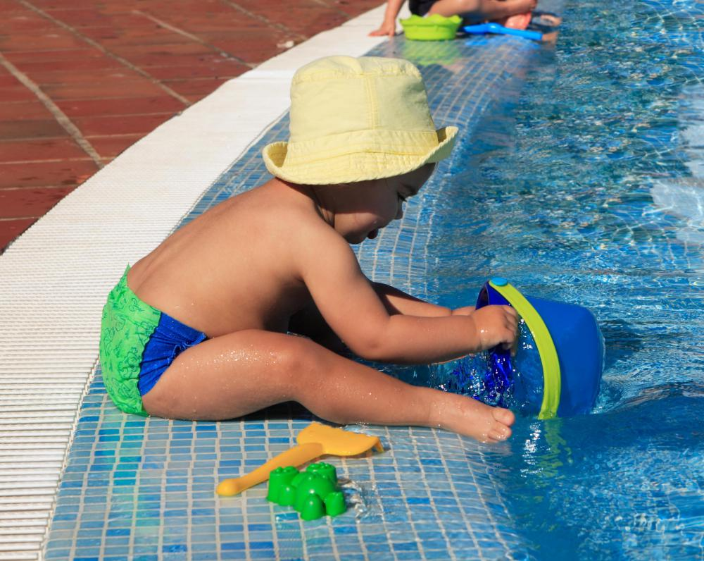 LIfeguard chairs allow pool attendants to keep an eye on small children.