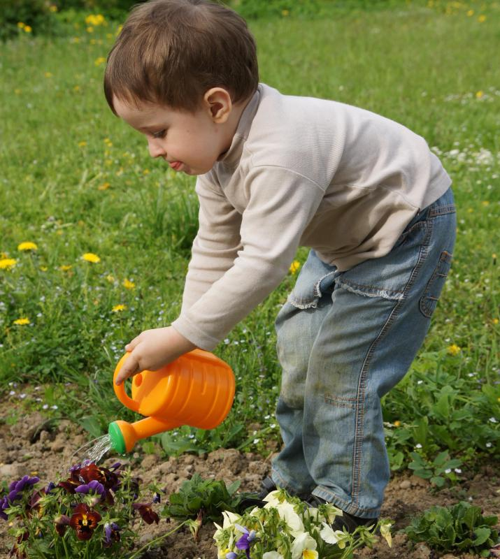 A boy using a plastic watering can.