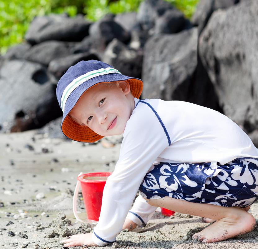 Rash guards can protect children from damaging UV rays.