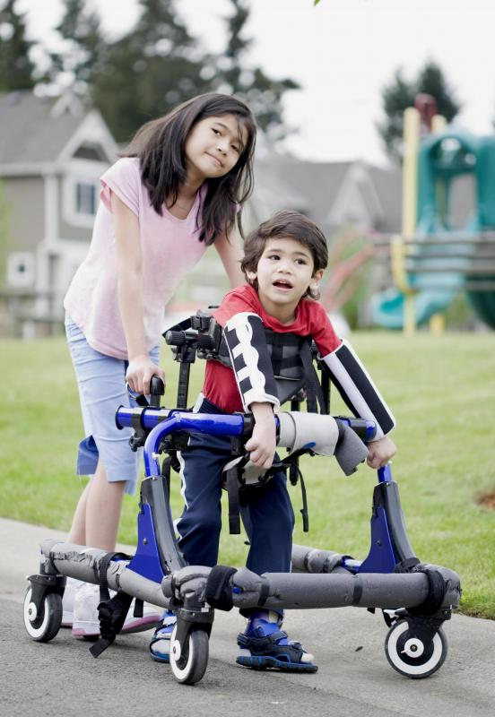 People with cerebral palsy may use assistive walking devices.