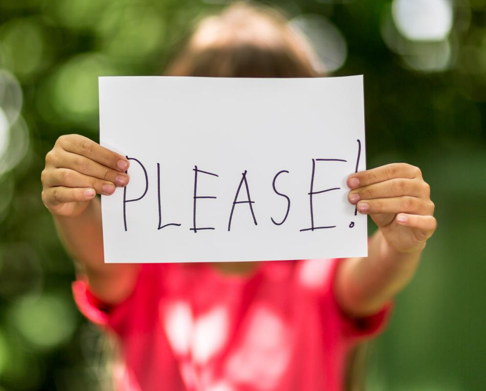"Children should learn to say ""please"" and ""thank you"" at an early age."