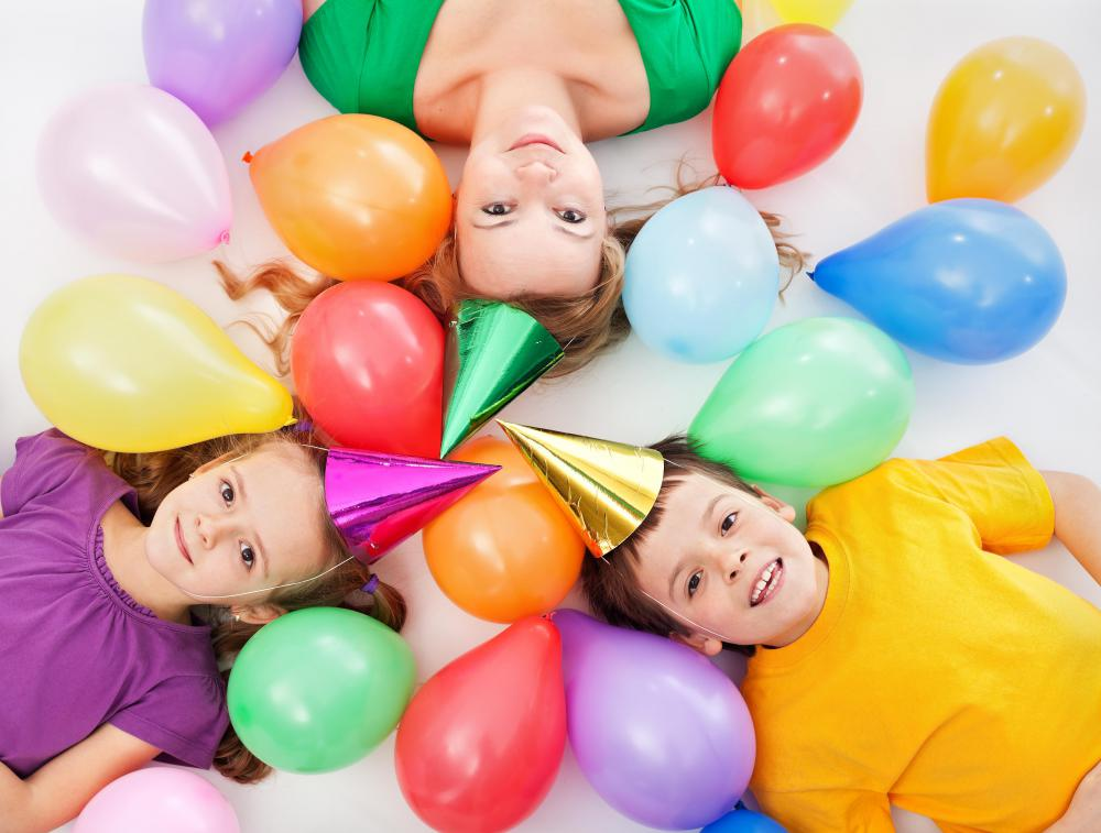 Party hats and other decorations are usually part of a childrens' birthday party.
