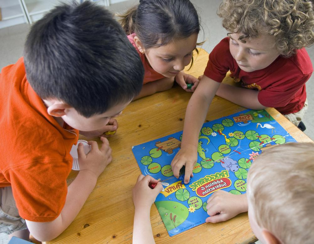 Cartoon Kids Playing Board Games