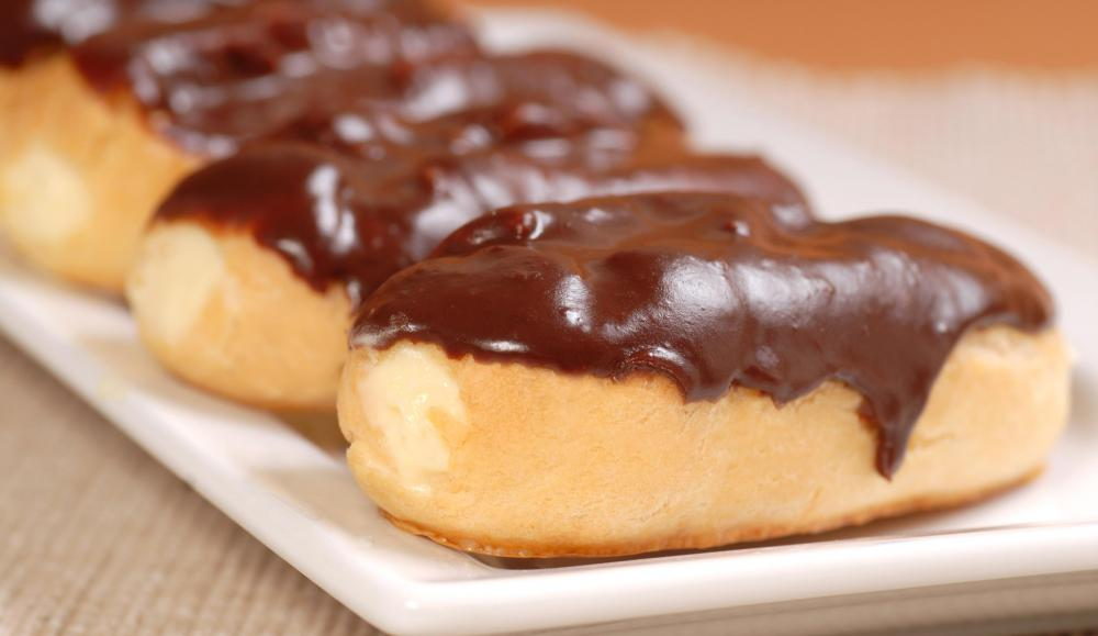 Chocolate eclairs may be filled with vanilla pastry cream.