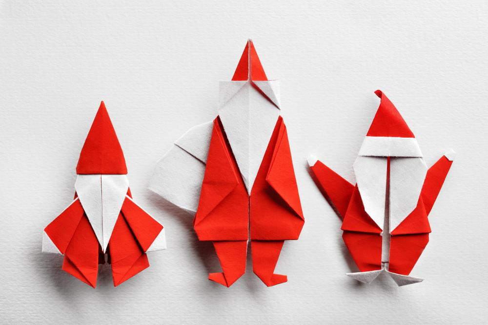 Origami art might be used to make holiday decorations.
