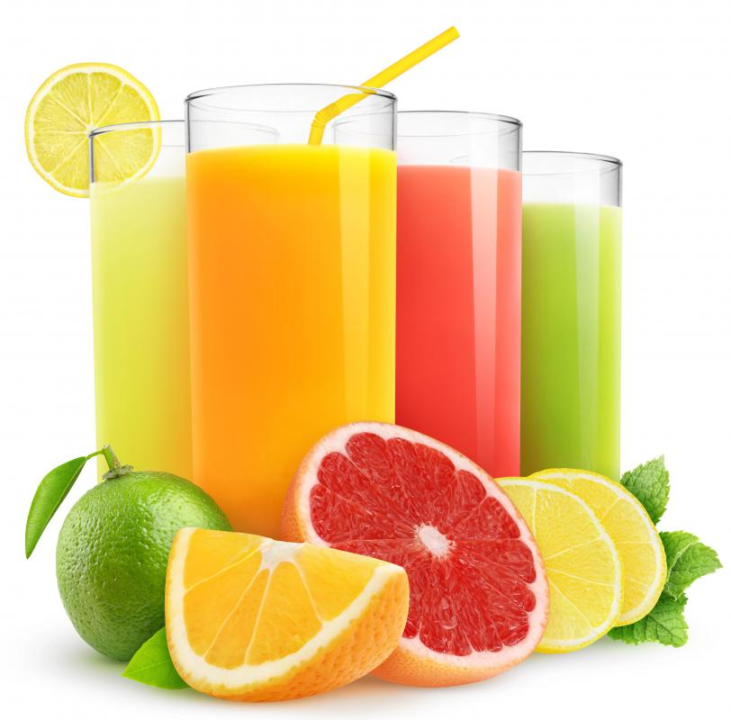 Juices are made from variety of fruits.