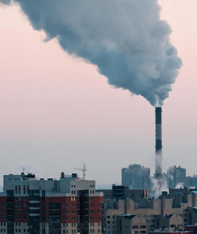 Man-made causes of air pollution include smokestack emissions from factories and power plants.