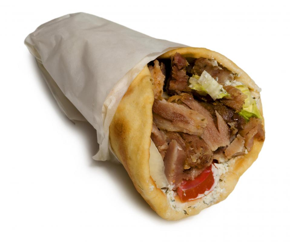 A gyro sandwich made with pita bread.