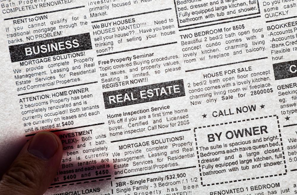 Volunteer opportunities may be found in the classified ads section of a newspaper.