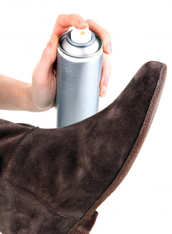 Sprays may be used to help shoes resist stains.