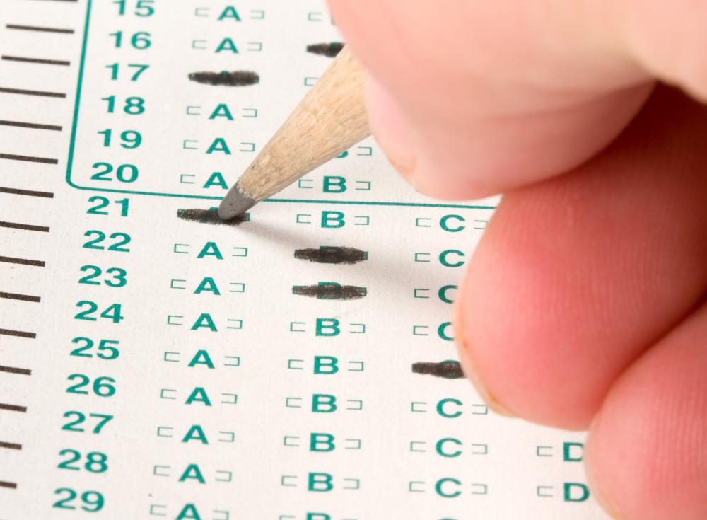 A vocational test may consist of up to 75 multiple choice questions.