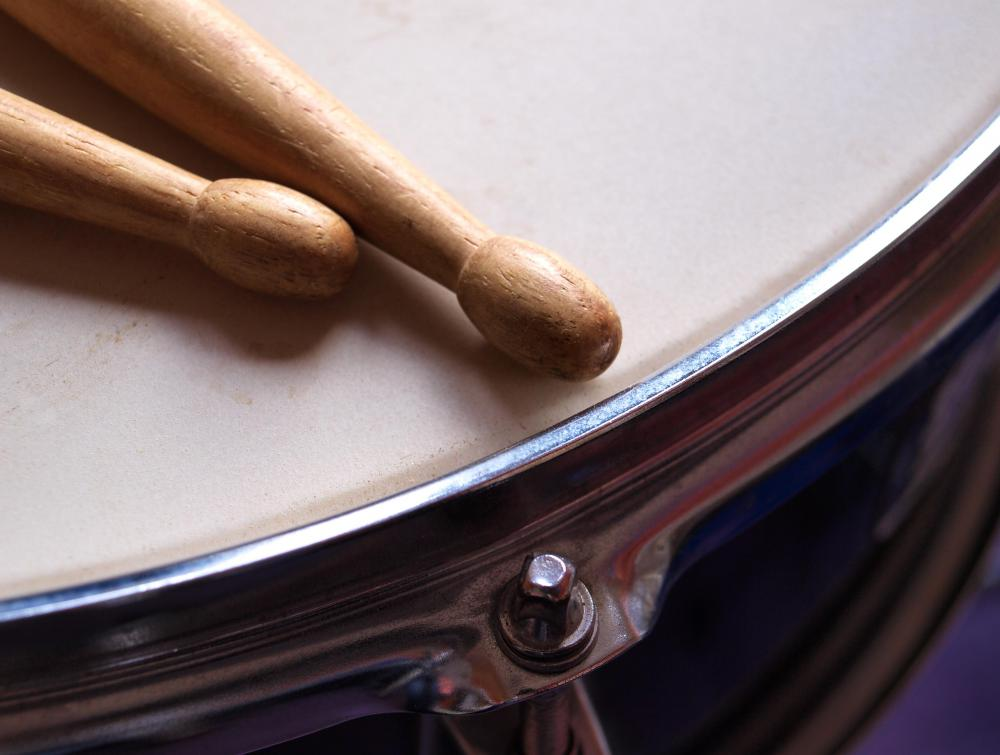 Drum stick tips can be made of wood, plastic or nylon.